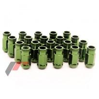 Grūdinto plieno Japan Racing veržlės M12x1,5 ilgos žalios 45mm