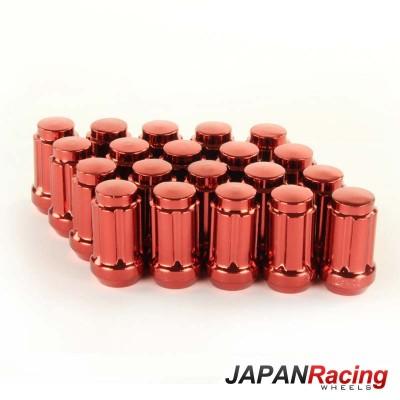 Grūdinto plieno Japan Racing veržlės 12.5x1,5 trumpos raudonos