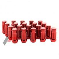 Grūdinto plieno Japan Racing veržlės 12.5x1,5 ilgos raudonos 45mm